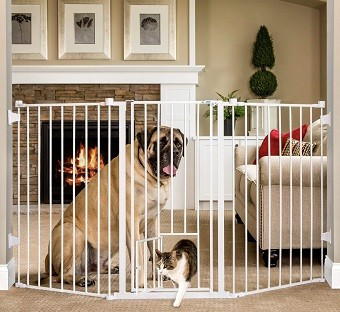 Flexi Gate Extra Tall 38 in. Walk-Thru Gate with Pet Door